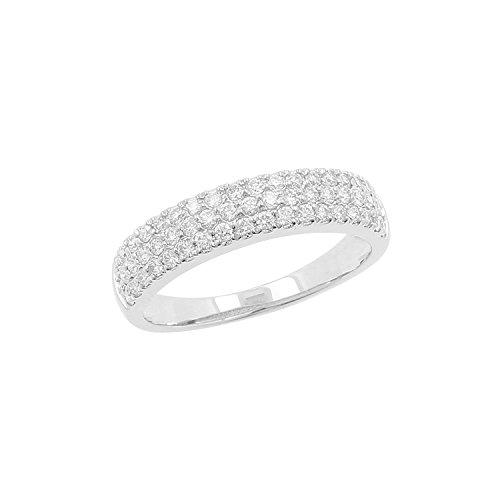 18kt White Gold 0.50ct Diamond 3 Row Wedding Band Ring, Size 6.5