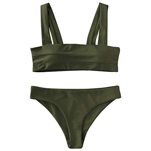 ZAFUL Women's Wide Straps Padded Bandeau Bikini Set (M, Army Green)
