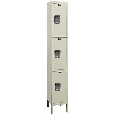 (Hallowell UY1288-3A-PT Maintenance Free Quiet KD Metal Locker, Assembled, 1-Wide Grouping, 3 Tier, 24