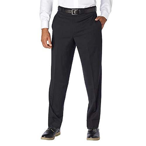 Slacks Wool Pants (Kirkland Signature Mens Wool Flat Front Dress Slack Pant,Black,34W x 32L)