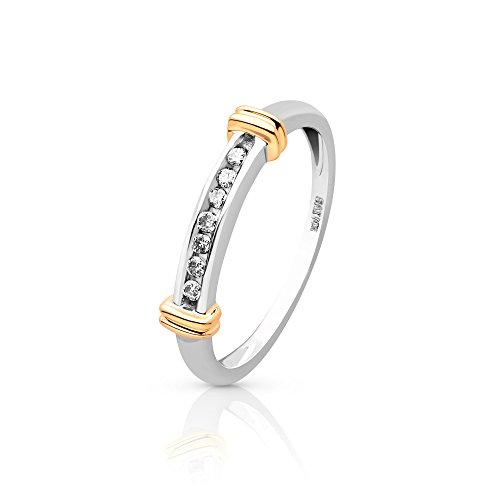 10k Solid White and Yellow Gold Natural Diamond Ring .15ct For Women (8)