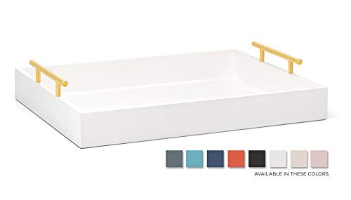 Esther Decorative Coffee Table Tray - White and Gold, Wood Serving Tray for Ottoman or Centerpiece, Rectangular, Polished Metal Handles, Beautiful Wooden Construction, 16.5x12.25, Soft Matte Finish (Tray White Table)