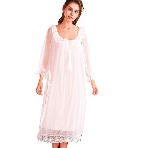 80b522c1e10337 Damen Kleid Nachthemd Langarm Spitze Vintage Viktorianischen Stil Nachthemd  Sweet Loose Comfort Langen Rock Nachtwäsche: Amazon.de: Bekleidung