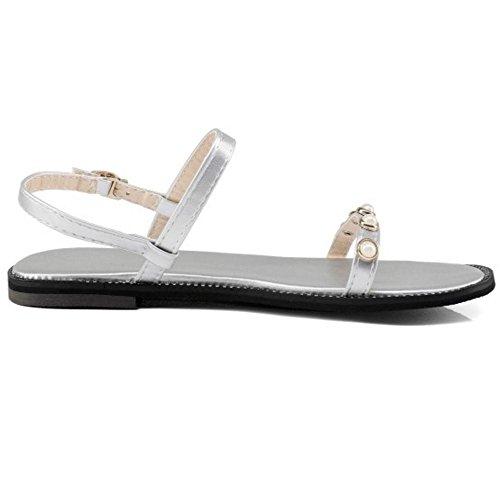 JOJONUNU Femmes Sandales Slingback Bout silver Ouvert g8gSqR