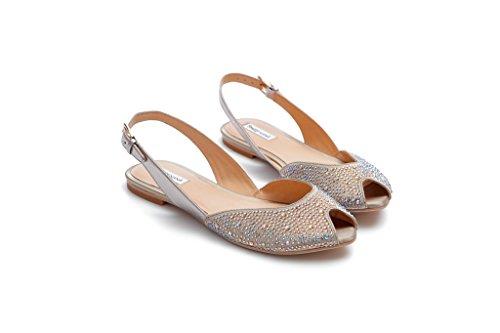 Peep Pretty Donna 601680 Strass Nana Toe flats Open Taupe Sandalo Raso Ballerina Grace Con UrrXwq51