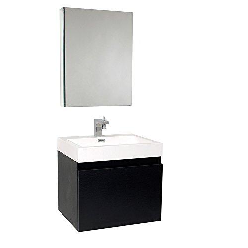 Fresca Nano Black Bathroom Vanity with Medicine Cabinet