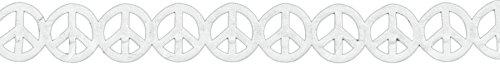 (May Arts Satin Cutouts Peace Signs, 15 yd, White)