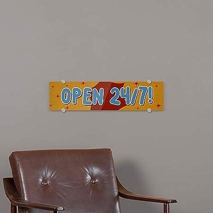 24x6 5-Pack Open 24//7 Nostalgia Burst Premium Acrylic Sign CGSignLab