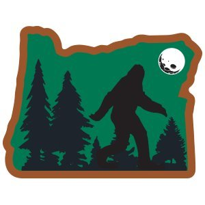 Bigfoot Sticker Sasquatch in OregonVinyl Decal Label Stickers, Die-Cut Shape for Water Bottle Laptop Luggage Bike Laptop Car Bumper Helmet Waterproof Show Love Pride Local Spirit.