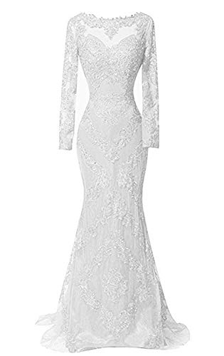 HelloLadyBridal Women's Illusions Lace Mermaid Prom Dress Long Sleeves Evening Formal Gown White A ()