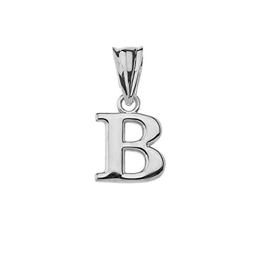(Fine Personalized Initial B Charm Pendant in Solid Sterling Silver)