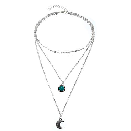 GUAngqi Retro Style Women Multi-Layer Necklace Silver Color Choker Individuation Gift Beauty Moon and Gemstone Shaped Pendant Sweater Chain Festival Decoration