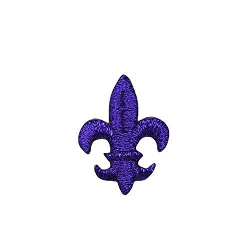 Medium Purple Fleur De Lis Iron on Embroidered Patch ()