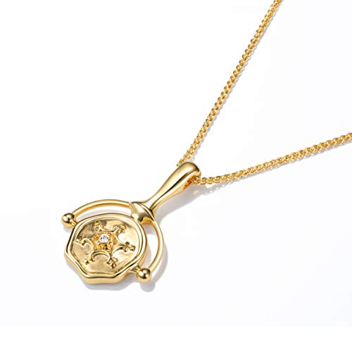 - ACC PLANET Coin Necklace 18K Gold Plated Delicate Chain Irregular Medal Vintage Coin Pendant Gold Necklace for Women Girls