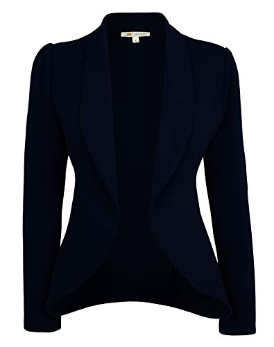 Michel Womens Blazer Lightweight Open Front Draped Casual Work Stretchy Blazer Navy Large