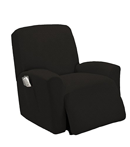 Queen Linens One Piece Stretch Recliner Slipcover, Stretch Fit Furniture Chair Recliner Lazy Boy Cover Slipcover, Estella (Black) by Queen Linens