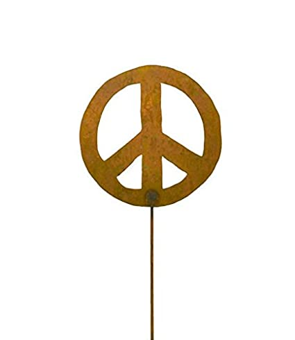 Metal Garden Stake  Artisan Crafted, Peace Sign Decor  Outdoor Garden  Decorations By Oregardenworks