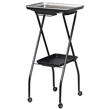 FT59-A Kayline Designed Aluminum Top Salon Chemical Service Fold-A-Way Tray W/Towel Bar and Lower Shelf. Made in The USA + Free YS Park Chignon Clips ($13 Value)