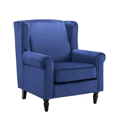 Amazon.com: Classic Scroll Arm Velvet Fabric Accent Chair, Living Room Armchair (Navy): Kitchen & Dining