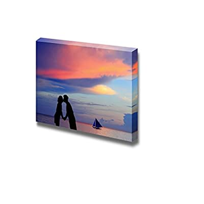 Canvas Prints Wall Art - Silhouette of a Young Bride and Groom in Beach on Sunset Background, Shot in Boracay - 12