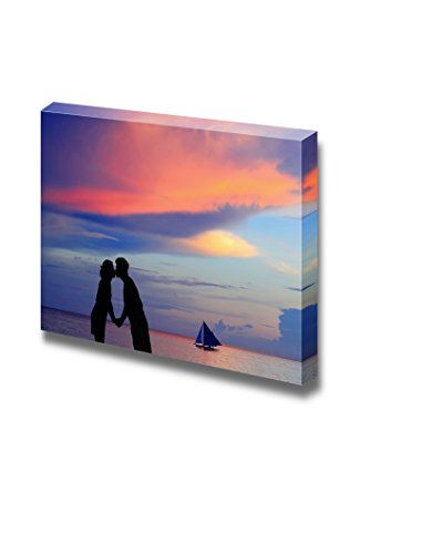 Canvas Prints Wall Art - Silhouette of a Young Bride and Groom in Beach on Sunset Background, Shot in Boracay - 16