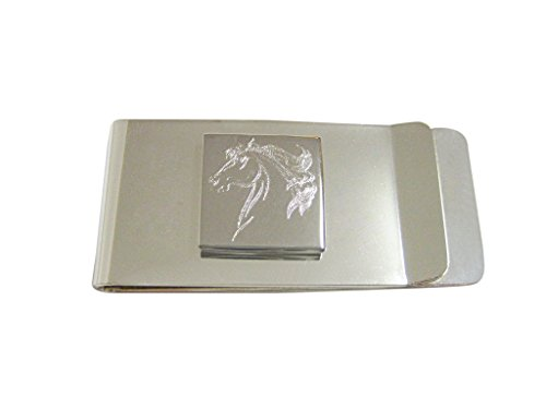 Silver Toned Etched Wild Horse Head Money Clip ()