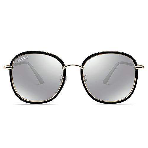 Sol la Marco Cara la KHIAD de Sol polarizadas Femeninas de de Sol Gafas Gafas del Moda Redondo Gafas de de ZqqA7wExv
