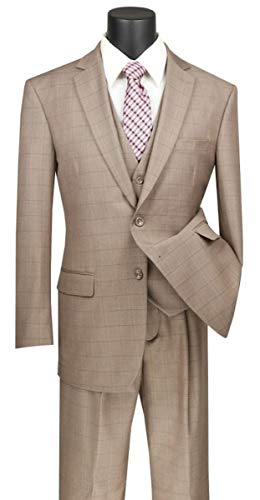 (VINCI Window Pane 2 Button Single Breasted Classic Fit Wool Feel Suit W/Vest V2RW-15-Tan-42R)