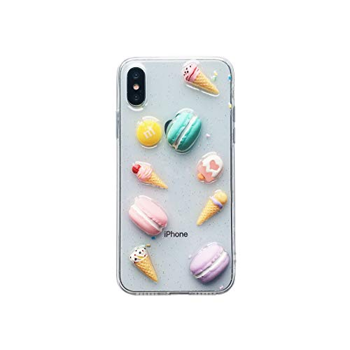(for iPhone X/Xs Case, Unique Sweet Cute Colorful 3D Candy Macaron Ice Cream Doughnut with Glitter Confetti Sprinkles for Girls Women, Clear Transparent Soft Silicone Case)