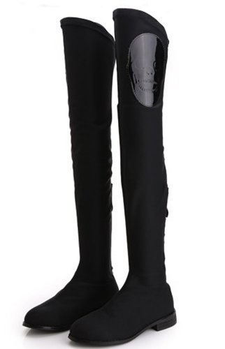 Show Story Punk Black Skull Stretch Low Heel Zipper Thigh High Ridding Boots,LF32803BK35,4US,Black - Skull Harness Boots