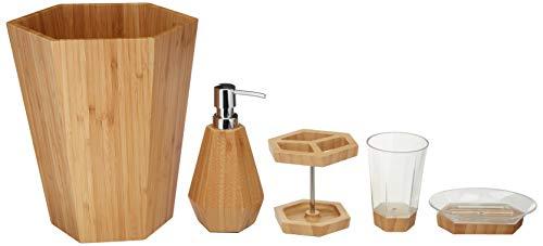(AmazonBasics 5-Piece Bamboo Bathroom Vanity Accessories Set, Geometric)