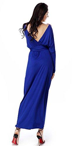 Manches Chauve-souris Avacostume Des Femmes Tie-taille Robe Casual Robes Longues Bleu