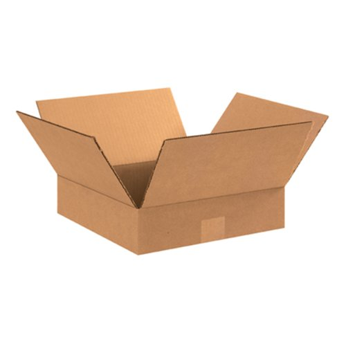 "Aviditi 15153 Flat Corrugated Box, 15"" Length x 15"" Width x 3"" Height, Kraft (Bundle of 25)"