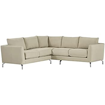 "Rivet Emerly Modern Velvet Metal Leg Sectional Sofa, 96"" W, Ecru"