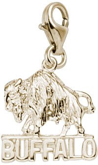 Rembrandt Charms Buffalo Charm with Lobster Clasp, 10K Yellow Gold