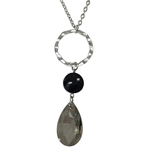 (Gypsy Jewels Long Simple Chandelier Crystal Bead Drop Ring Necklace (Black Grey Silver Tone))