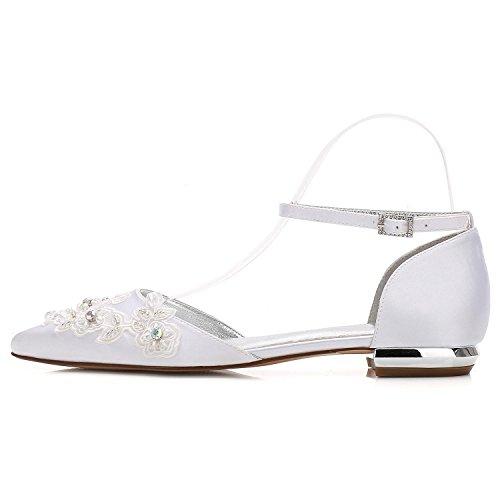 Zapatos Del De Boda Las L Pie 5047 Ivory La Bombas Dedo Planos Mujeres Cerrado yc Plataforma 16 Flores Corte Hebilla ZCwX15xq1