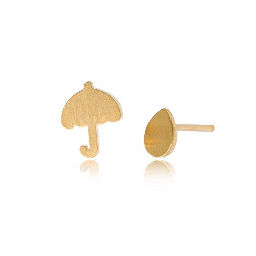 (HUAN XUN Umbrella and Rain Drop Stud Earrings - Weather Girls Jewelry Gold)