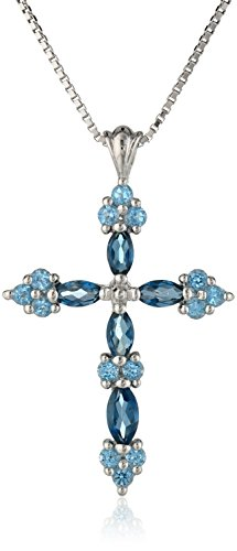 Sterling Silver Genuine Blue Topaz Tonal Cross Pendant Necklace, 18