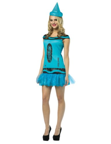 [Crayola Glitz and Glitter Crayon Dress Adult Costume Steel Blue - Small/Medium] (Crayola Steel Glitz Costumes)