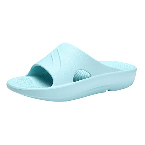 Litfun Women's Blue Orthotic Shower Shoes Platform Slide Sandals with Arch Support for Comfortable Walk ()