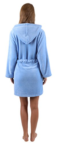 Betz Señoras- albornoz corto con capucha, cremallera y bordado de microfibra en tallas XS - L, en colores crema, turquesa, rosa y azul size L - azul