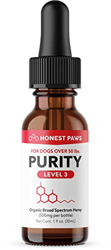 Honest Paws - Purity | Premium Hemp Oil Tincture for Dogs | Alleviates Dog Pain, Allergies, and Anxiety | High Quality All Natural Pure Hemp Oil - 500 mg