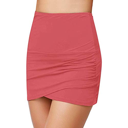 SSYongxia✤Women's High Waist Bikini Bottom Solid Color Hem Shirring Swim Skirt Swimsuit A Line Red