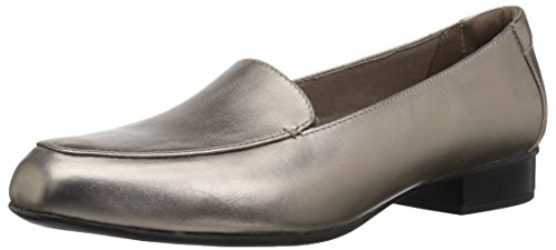 (CLARKS Women's Juliet Lora Loafer, Pewter Leather, 075 M US )