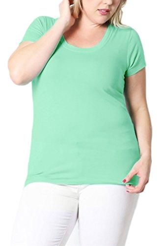Belle Donne- Women's Cotton Short Sleeve Stretchy Scoop Neck Yoga Tshirt- Mint / 3XL