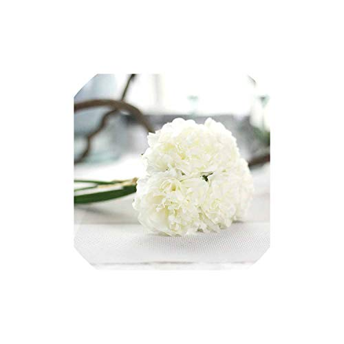 Blooming-Store 5 Heads/Bouquet Peonies Artificial Flower Fake Hydrangeas Artificial Flowers for New Year Wedding Home Decoration Garland,White