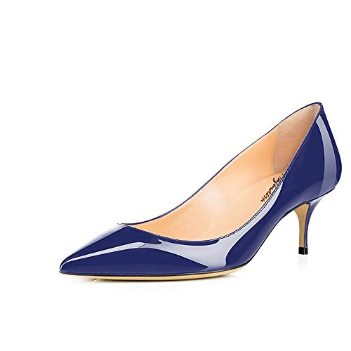 Maguidern Women's Blue Patent Leather Pointed Toe 2 1/2 inches Mid-Heels Working Pumps Evening Party Stiletto Shoes Size 10 M US Dark Blue Patent Leather