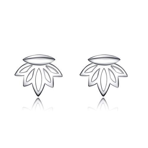 - Lotus Flower Pierced Bar Earrings Sterling Silver Lotus Ear Jacket Stud Earring Jewelry for Women Girls (Lotus earrings)