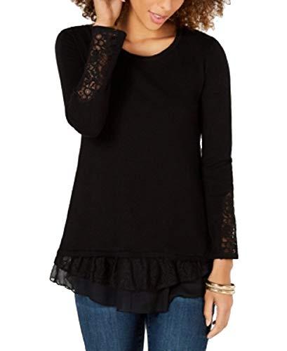 Style & Co Lace-Trim Sweater (Deep Black, XL) - Lace Trim Sweater